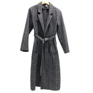 H&M Plaid Belted Long Coat Gray and Pink Size 12